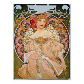 Reverie by Alphonse Mucha Fine Art Postcard