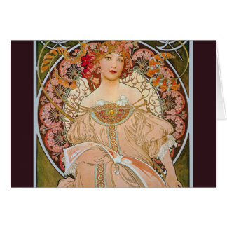 Reverie by Alphonse Mucha Note Card