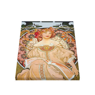 Reverie by Alphonse Mucha Stretched Canvas Print