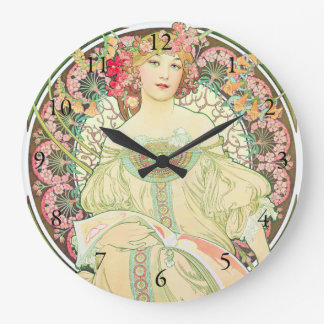 Reverie Champagne Advertisement Alphonse Mucha Large Clock
