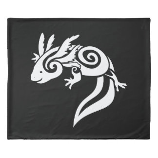 Reversable Black Tribal Axolotl Mexican Salamander Duvet Cover