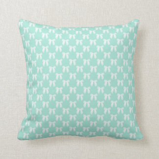 Reversable Cool Mint Pastel With White Bows Throw Pillow