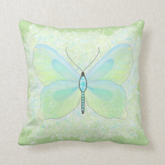Reversable Lime and Aqua Jewelled butterfly pillow
