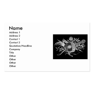 Reverse black and white of a lute and flowers business card templates