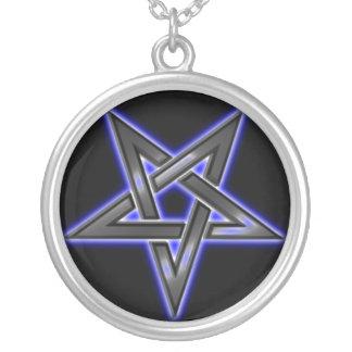 reverse pentacle neckalace silver plated necklace