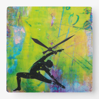 Reverse Warrior Yoga Girl Square Wall Clock