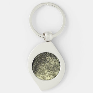 Reversed Loop Fingerprint Silver-Colored Swirl Keychain