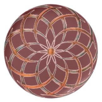 Reversed Swirls Burgundy Plate