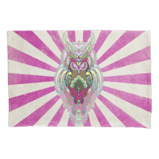 Reversible 3 Colorful Owls Pink Blue Rays template Pillowcase