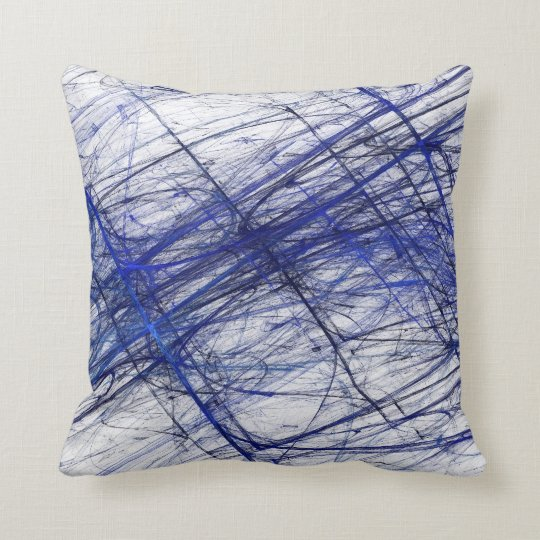 Reversible Abstract Textured Blue and White Pillow