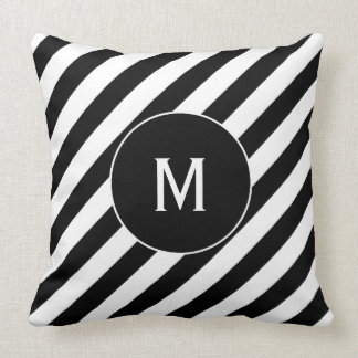 Reversible Black & White Candy Cane Monogram Throw Pillow