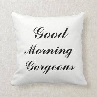 Reversible Black & White GOOD MORNING GORGEOUS Tex Throw Pillow