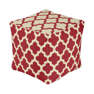Reversible Burgundy, Gold And Tan Quatrefoil Ikat Pouf