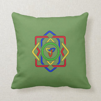 Reversible Cat and Celtic Design Throw Pillow