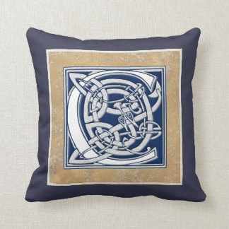 Reversible Celtic C Initial Throw Pillow