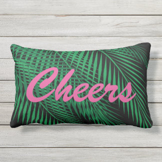 Reversible Cheers Tropical Palm Leaves on Black Outdoor Pillow