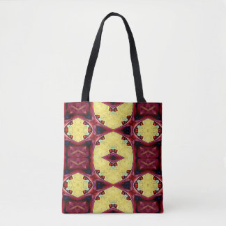 Reversible Coordinating Red Yellow Cool Hip Shapes Tote Bag