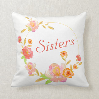 Reversible Custom Sisters Pillow With Flowers