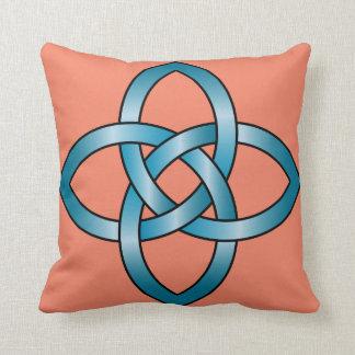 REVERSIBLE DESIGN blue celtic knot pillow