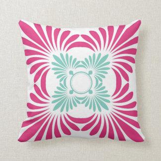 Reversible Floral Throw Pillows:Aqua Pink
