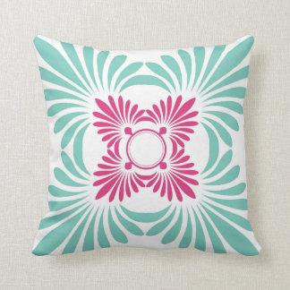 Reversible Floral Throw Pillows:Pink Aqua