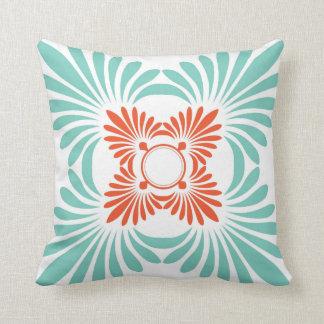 Reversible Floral Throw Pillows:Red Aqua Pillows