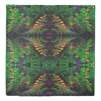 Reversible Green Tribal Fern Jungle Pattern Duvet