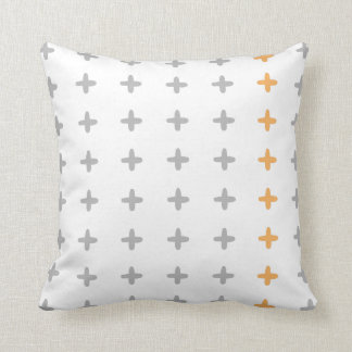 Reversible Grey + Orange Cross Throw Pillow
