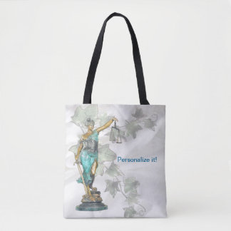 Reversible Lady Justice and 3D Veritas on Blue Tote Bag