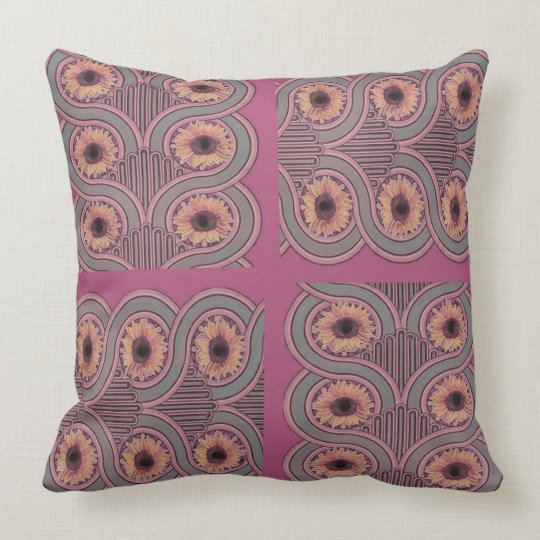 Reversible Mauve Grey Deco Floral Pattern Throw Pillow
