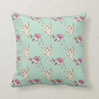 Reversible Mint Green Bird Patchwork Quilt Throw Pillow