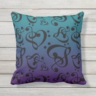Reversible Music Hearts Teal & Purple Ombre Throw Pillow