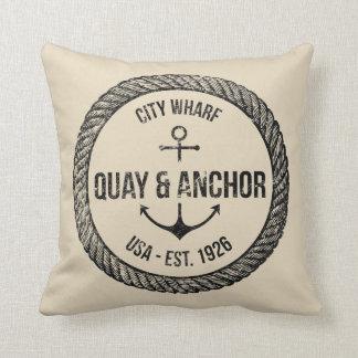 Reversible Nautical Theme Throw Pillow