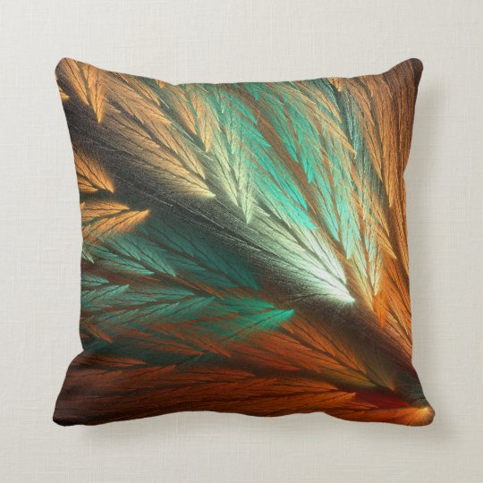 Reversible Orange and Teal Feathery Fractal Pillow