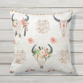 Reversible outdoor pillow, Southwestern style Throw Pillow
