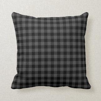 Reversible Plaid -white/black/red Throw Pillow