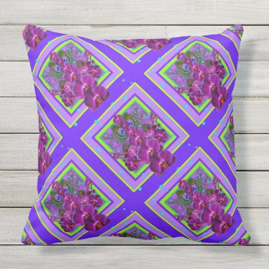 Reversible Purple-Blue Orchids Pattern Outdoor Pillow