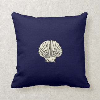 Reversible Red and Blue Seashell Throw Pillow