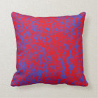 Reversible Red and Blue Textured Pillow