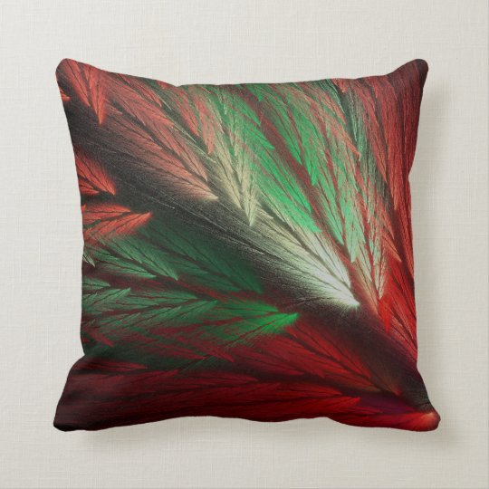 Reversible Red and Green Feathery Fractal Pillow