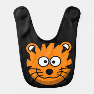 Reversible Smiling Cartoon Orange Tiger Bib