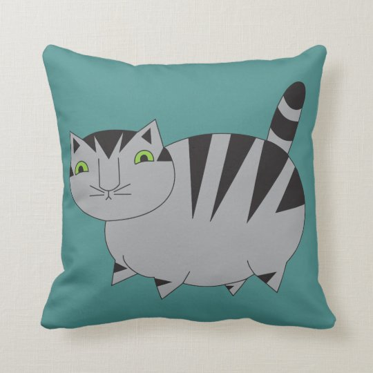 Reversible Teal Purple Grey Tabby Pillow