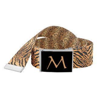 Reversible Tiger Print Belt with Monogam