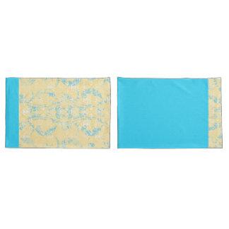 Reversible Tropics Yellow Blue Damask Pillowcase