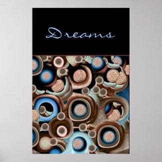Rêves - bleu abstrait, Taupe, et chocolat Affiche