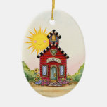 Revised! School House - SRF Ceramic Oval Ornament