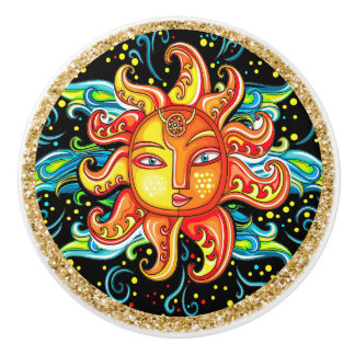 Revised Sun Face Ceramic Knob