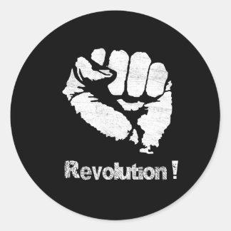 Revolution fist round sticker