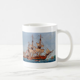 Revolutionary Painting of the Frigate Confederacy Coffee Mugs