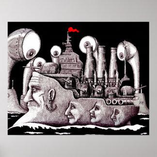 Revolutionary ship ink pen drawing art poster